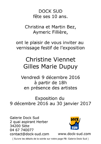 Galerie Dock Sud, 10 ans, Christine Viennet, Gilles Marie Dupuy